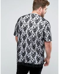 ASOS - Black Plus Longline T-shirt With Lace Double Layer And Text Print for Men - Lyst