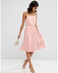 ASOS | Pink Wedding Crepe Cross Back Midi Dress | Lyst