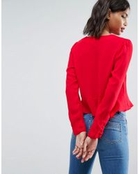 ASOS Red Asos Ruffle Top With Tie Front