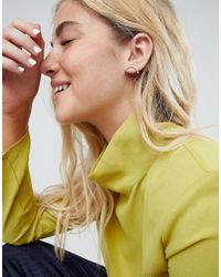 ASOS - Metallic Curved Stud Earrings - Lyst