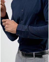 Threadbare - Blue Premium Jersey Slim Fit Shirt for Men - Lyst