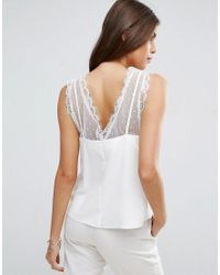 ASOS - White Vest With Lace And Mesh Trim - Lyst