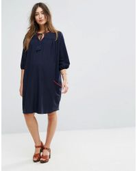 Gebe Maternity - Blue Nursing Woven Shift Dress With Tassel Detail - Lyst