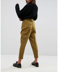 ASOS | Green Tailored Peg Pants With Tab And Buckle Detail | Lyst