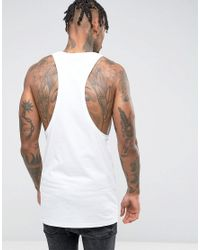 ASOS - White Longline Extreme Muscle Vest With Extreme Racer Back & Text Print for Men - Lyst