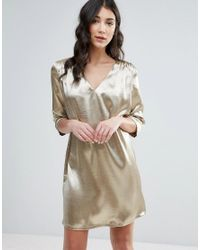 Traffic People | Pink 3/4 Sleeve Satin Shift Dress | Lyst