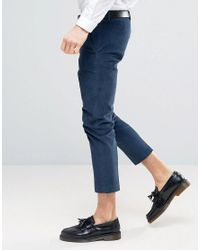 ASOS - Green Skinny Crop Smart Pants In Teal Cord for Men - Lyst