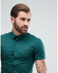 ASOS - Green Skinny Shirt In Teal for Men - Lyst