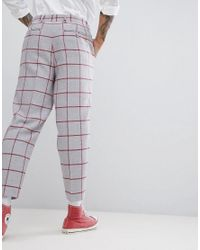 ASOS - Gray Tapered Smart Trouser In Light Grey Wool Mix With Red Check for Men - Lyst