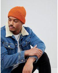 Lyst - New Look Ribbed Beanie In Bright Orange in Orange for Men 7110f80f17c