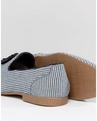 ASOS - Blue Loafer In Navy Stripe With Tassels for Men - Lyst