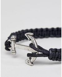ASOS DESIGN - Anchor Bracelet In Black for Men - Lyst