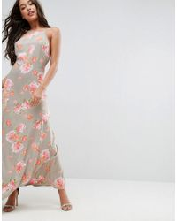 303eacc6afa Lyst - ASOS Open Back Maxi Dress In Pretty Floral