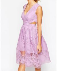 ASOS - Purple Prom Dress With Floral Embroidery And Cutout Detail - Lyst