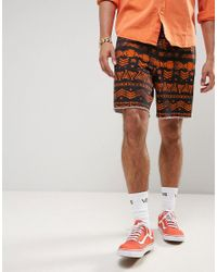 ASOS - Black Festival Slim Elasticated Waist Shorts With Aztec Print for Men - Lyst