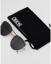ASOS DESIGN - Multicolor Asos Cat Eye Sunglasses With Wire Highbrow And Double Nose Bridge - Lyst