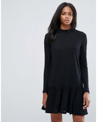 Pieces - Black Mary High Neck Skater Dress - Lyst