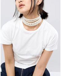 Monki - White Layered Pearl Choker - Lyst