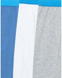 ASOS - Plus Jersey Boxers With Blue Waistband 3 Pack for Men - Lyst