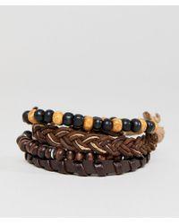 ASOS - Design Brown Leather And Beaded Bracelet Pack for Men - Lyst