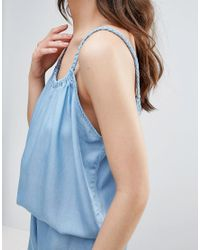 B.Young - Blue Chambray Romper With Cami Straps - Lyst