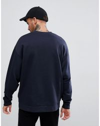 ASOS - Blue Oversized Sweatshirt With Text Print for Men - Lyst