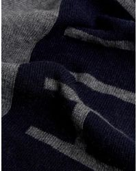 Tommy Hilfiger - Blue Large Logo Scarf In Navy/gray for Men - Lyst