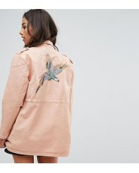 Noisy May Petite - Pink Lex Cargo Jacket With Bird Patches - Lyst