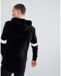 ASOS - Muscle Hoodie In Black Velour With Colour Blocking for Men - Lyst