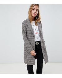 6fad4112ab58 New Look Tailored Coat In Check in Brown - Lyst