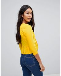ASOS - Yellow Tall Top With Knot Front Ruffle - Lyst
