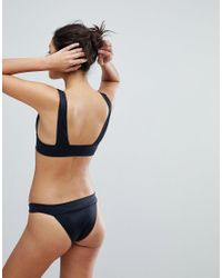 ASOS - Black Recycled Mix And Match Deep Band High Triangle Plunge Bikini Top With Eyelets - Lyst