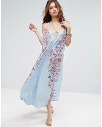 Free People   Blue Ashbury Printed Maxi Slip Dress   Lyst