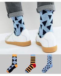 Happy Socks - Blue Hs By 3 Pack for Men - Lyst
