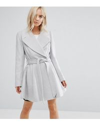 ASOS - Gray Skater Coat With Self Belt And Oversized Collar - Lyst