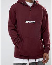 Vans - Side Waze 3/4 Zip Hoodie In Red Va36kq4qu for Men - Lyst
