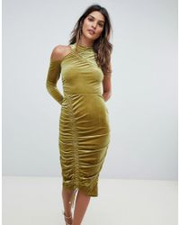 ASOS - Green Asos High Neck Ruched Velvet Midi Bodycon Dress - Lyst