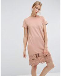 ASOS - Pink T-shirt Dress With Cutwork Hem - Lyst