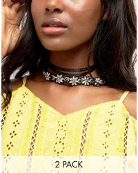 ASOS - Multicolor Pack Of 2 Embellished Wraparound Choker Necklace - Lyst