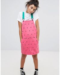 Lazy Oaf - Pink Watermelon Overall Dress - Lyst