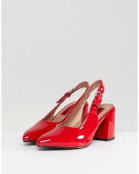 London Rebel - Red High Vamp Sling Back Heel Shoe - Lyst