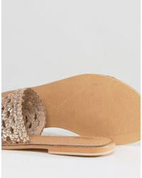 ASOS - Natural Ferdinand Woven Leather Sliders - Lyst