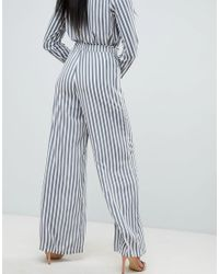 Missguided - Blue Striped Wide Leg Trousers - Lyst