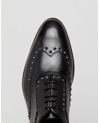 HUGO - Appeal Lace Up Leather Stud Oxford Shoes In Black for Men - Lyst