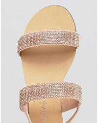 Little Mistress - Multicolor Two Strap Flat Sandals Rhinestone Embellishment - Lyst