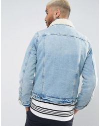 ASOS DESIGN - Blue Fully Borg Lined Denim Jacket In Mid Wash for Men - Lyst