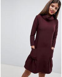 Closet - Red Turtle Neck Dress With Peplum Hem - Lyst