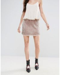 Free People | Pink Wild Child Sequined Skirt | Lyst