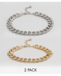 ASOS | Metallic Bracelet Pack With Gold And Silver Midweight Chains for Men | Lyst