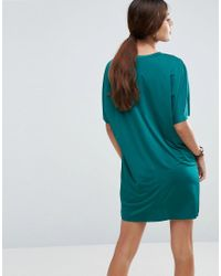 ASOS - Green Slinky T-shirt Dress With Pockets - Lyst